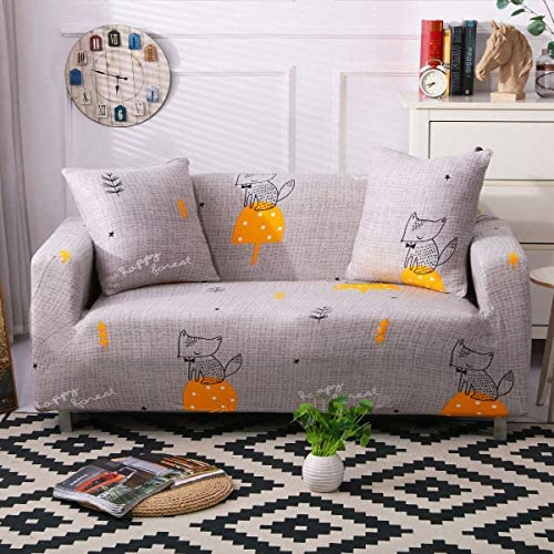 Best Stretch Sofa Slipcover Fitted Furniture Protector Print Sofa Cover Stylish Couch Cover with 2 Pillow