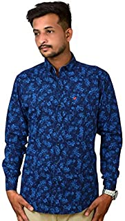 Darien Range Blue Flower Printed 100% Cotton Slim Fit Casual Shirt