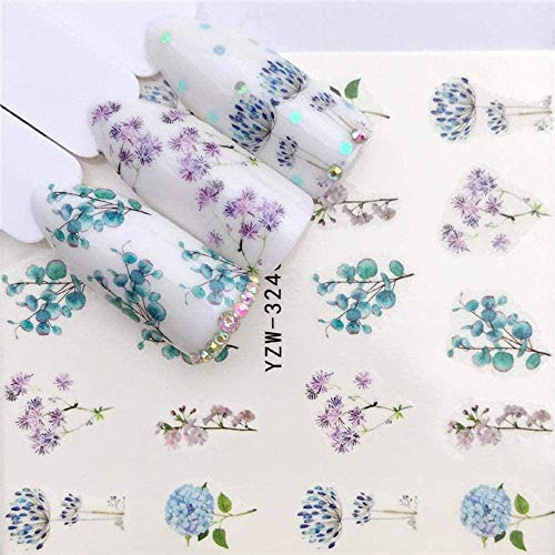 SRTYH Autocollant d'ongle Nail Art Nail Sticker Slider Tattoo Flower Water Decal Bonhomme de neige Full Wraps Designs Decals Make Nails More Beautiful MA