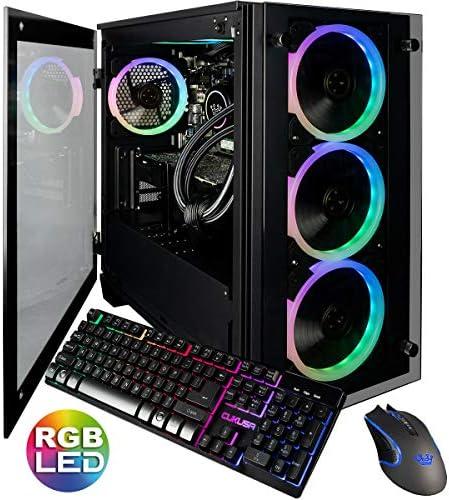 CUK Stratos Micro Gamer PC (Liquid Cooled Intel Core i9-10900KF, 32GB DDR4 RAM, 512GB NVMe SSD + 2TB HDD, NVIDIA GeForce RTX 3070 8GB, AC WiFi, Windows 10 Home) Tower Desktop Gaming Computer