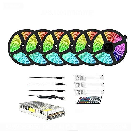 JIANMIN Decoraciones para el hogar Tiras LED Set de luces RGB impermeable 15m Control remoto Color Decoración del hogar Accesorios al aire libre r TV Fondo para armarios, accesorios de sala de estar.