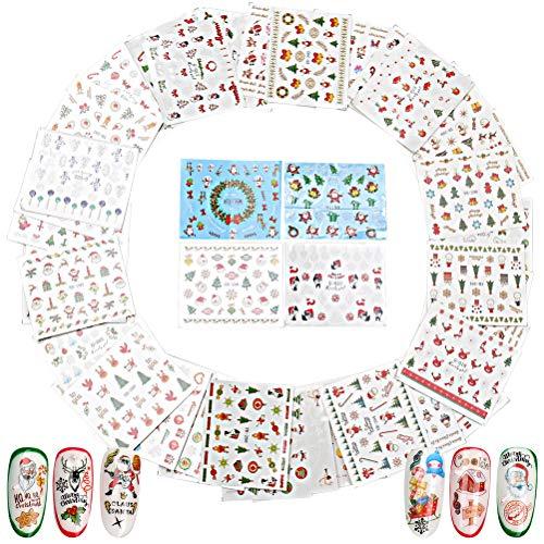 50 Feuilles Stickers Ongles Noël, Nail Art Stickers Autocollants Ongles Transfert à Eau Decal pour Noël et Nouvel An Thème Nail Art Décoration