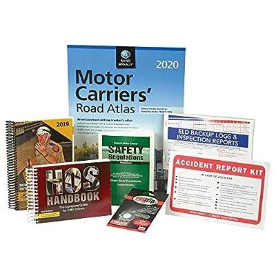CMV Truck Driver Safety Kit with FMCSR Pocketbook, HOS Handbook, Pre-Trip Inspection Tool, Road Atlas, Accident Report Kit, CVSA's Out-of-Service Criteria Handbook & ELD Backup Log Book - J. J. Keller