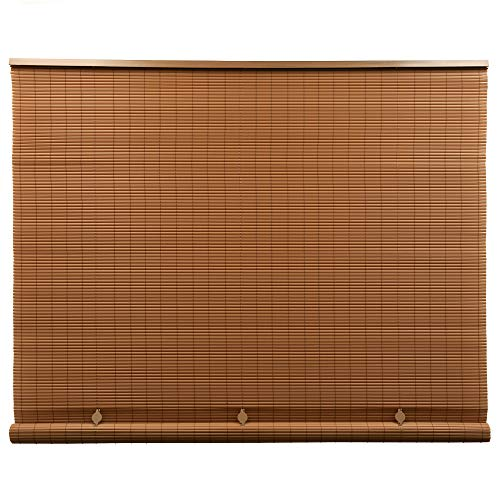 Lewis Hyman Cord Free 1/4 Inch Oval PVC Shade, Woodgrain, 96 Inches x 72 Inches Roll Up Blind