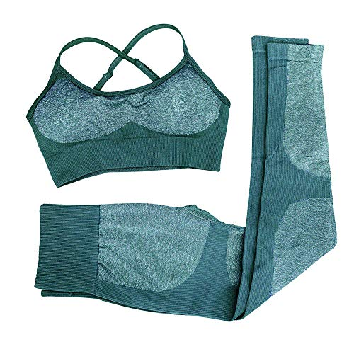 Women 2 Piece Outfits Leggings+Sports Bra Yoga Set Compression Skinny Tights Gym Fitness bbmee Pants Exercise Outfits Deep Green