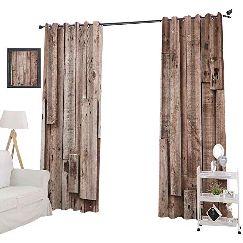 YUAZHOQI - Cortina opaca de madera con aislamiento térmico, estilo vintage, para dormitorio, 132 x 160 cm, color gris y marrón