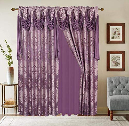 """LinenTopia Classical Jacquard Window Drape Set, 2 Panels with Attached Valance + Sheer Backing, Fancy Victorian Style Damask Curtain Drape for Living Rooms, (Elsa, 84"""", Purple)"""