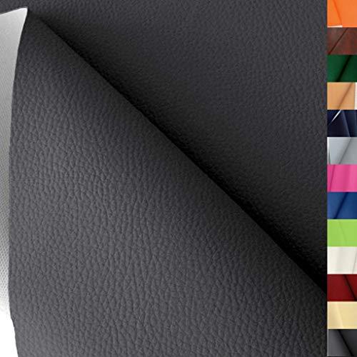 TOLKO Lederimitat mit Rindsleder Optik | weiche PREMIUM Meterware | für Stuhl Bank Sessel Sofa Sitzbezug 140cm breit | Kunstleder Bezugstoff Polsterstoff Polsterbezug Möbelstoff (Dunkel Grau)