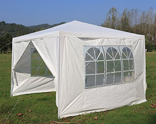 3x3m Fully Waterproof Gazebo Tent Marquee Awning Beach Canopy with 4ps Side Panels and Powder Coated Iron Frame for Outdoor Wedding Garden Party BBQ Camping, White