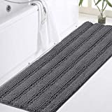 Turquoize Bath Rug Runner Long Bathroom Rug Large Size Plush Shaggy Chenille Bathroom Runner Rug 47 x 17 Non-Slip Bath Rug Runner Extra Soft & Absorbent Thick Shaggy Floor Mats, Machine Washable, Gray