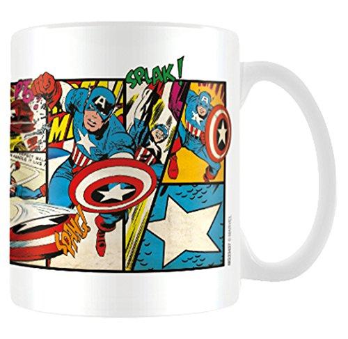Marvel MG23437 Retro (Captain America Panels) Mug, Céramique, Multicolore, 11oz/315ml