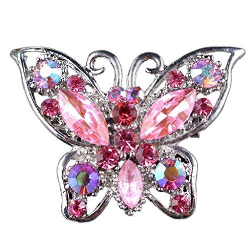 Collar De La Mariposa Broche de Novia De La Boda Diamantes De Imitación De Joyería De Regalo De Color Rosa