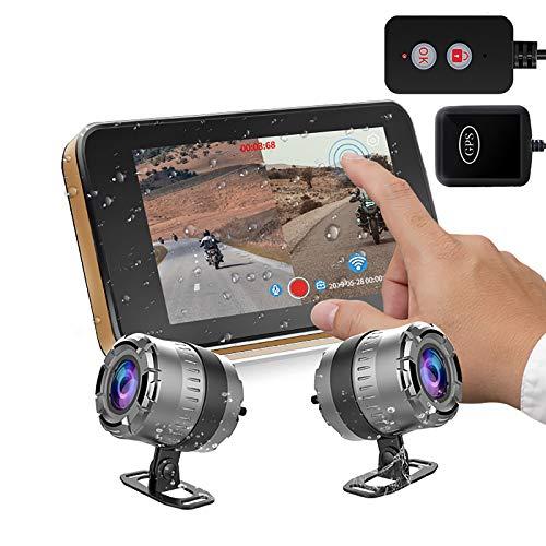 BaiTTang Sistema de cámaras de grabación de Motocicletas - Monitor de Pantalla táctil HD de 4 Pulgadas y cámara Dual 1080P, WiFi GPS Dash CAM, Vista/Descarga/Compartir en Video, alimentación USB