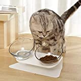 Cat Raised Stand Double Transparent Plastic Bowl,Pet Feeding Bowl | Pet Food Water Feeder Bowl for Cats and Dogs ,Cute Cat Face Double Bowl 15 Degree Tilted Design Neck Guard (Double Bowl)