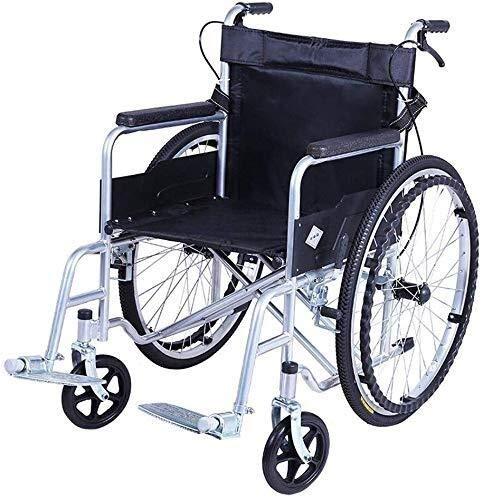 Busirsiz Silla de ruedas de acero, plegable, ligera, reposabrazos antideslizante ABS, soporte doble para personas mayores y personas necesitadas, peso neto 13 kg