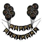 Gold Confetti Happy Balloons 12 inch Inflatable Balloon Latex Black Happy Birthday Banner Birthday Party Decoration Helium Balloon (Black+Black)