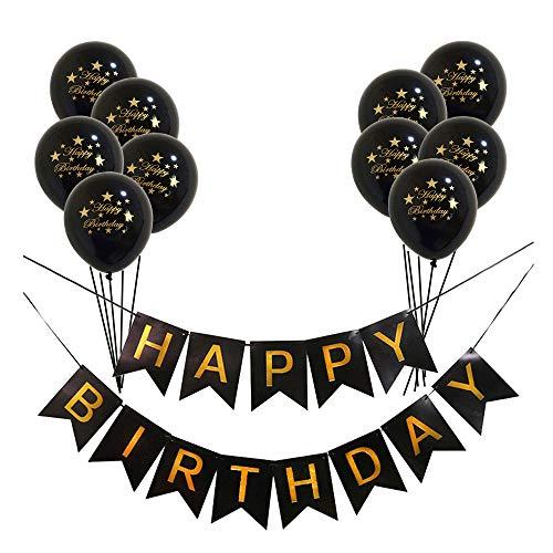 Guirnalda de cumpleaños con letras doradas y confeti con purpurina, globos de látex (negro + negro)
