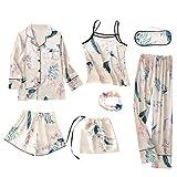 Conjuntos de Pijamas de 7 Piezas para Mujer Conjuntos de Pijama de Rayas de Seda emulación Conjuntos...
