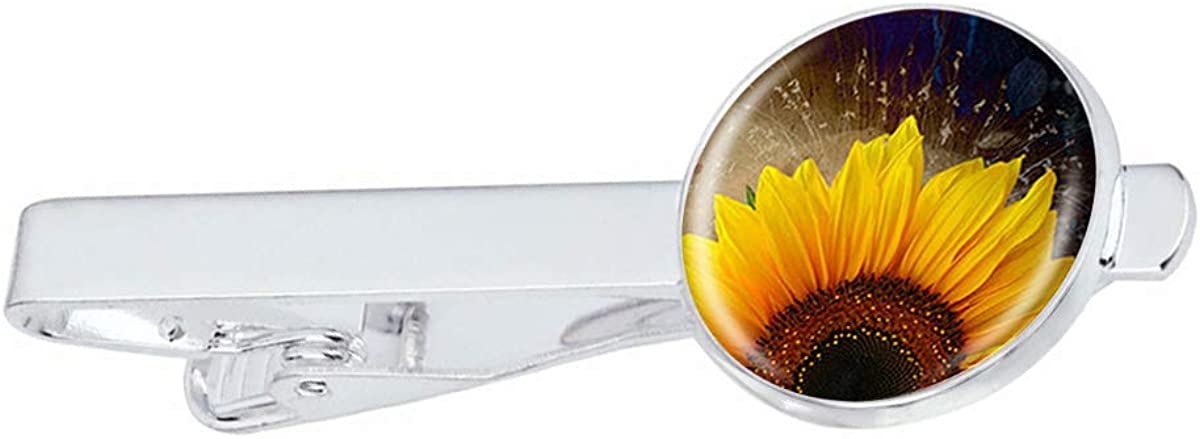 LooPoP Men Tie Clip Sunflower Flower Stainless Tie Pins for Business Wedding Shirts Tie Clips Include Gift Box