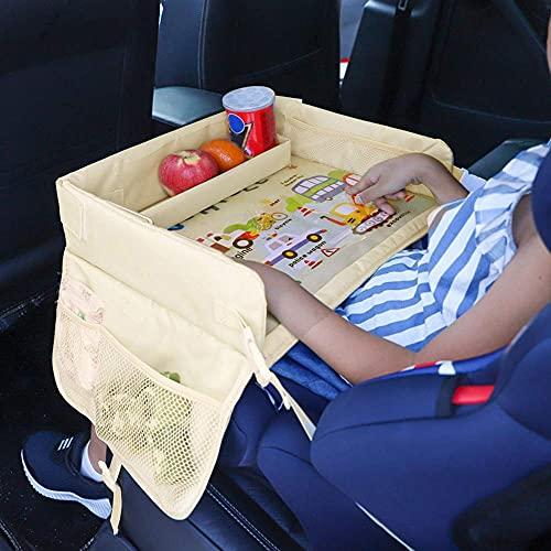 Kinder Reisetisch,Knietablett Kinder Auto,Einstellbar Tablett Wasserdicht Multifunktional Reisetisch Aufbewahrungstisch baby Tischhalter,für Autositz Sicherheitssitz(Autofamilie)