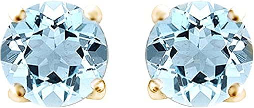 Round Shape Simulated Blue Aquamarine Stud Earrings 14K Gold Over Sterling Silver