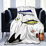 GKGYGZL Cómoda Manta de Franela Fina, Acuario, Diferentes Especies de Peces en Pose, pez Espada, pez Payaso, Hawaiano, Aguas del Pacífico, Fauna Decorativa, Manta de Aire Acondicionado de 80 'x 60'