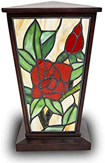 Rose Stained Glass Memorial Urn for Adults - Large - Holds Up to 200 Cubic Inches of Ashes - Red Cremation Urn for Ashes - Engraving Sold Separately