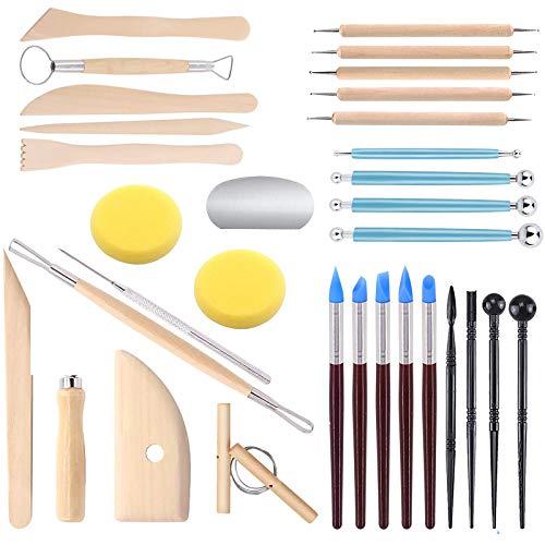 TUOCO Modellier-Werkzeug Sculpting Werkzeug, 32 Stücke Ton-Werkzeuge, Keramik Werkzeug, Ball Stylus Dotting Tools, Doppelseitige Sculpting Werkzeug Töpferwerkzeug für Kunsthandwerk, Anfänger