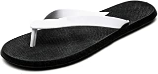Fashion Slippers for Men Flip-Flops Casual Slip On PU Leather Simple Casual Fashion Stitching Soft Shoes Men's Boots (Color : Black White, Size : 9 UK)