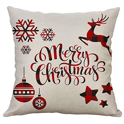 FRAUIT Natale Natalizi Decorazioni Casa Federe Cuscini Divano 45X45 Cotone Federa Cuscino Copricuscino Copricuscini Letto Lavabile
