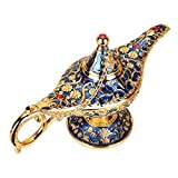 WICHENG Aladdin Lamp Traditional Hollow Out Fairy Tale Magic Aladdin Wishing Genie Lamp Tea Pot Retro Home Decoration Accessories (Color : Gold)