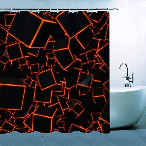 N\A Cube Shower Curtain Decor Orange-Edged Black Cubes 3D Graph Bathroom Curtain Waterproof Polyester