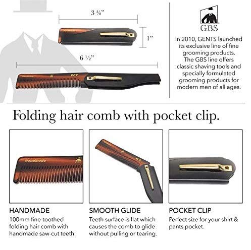 GBS 4 Pack Handmade Hair Styling Beard Comb Set for Men and Women Dressing Comb, All Purpose Folding Comb, HBCT Pocket Comb, Mustache Comb - Family Pack for Long Short Wavy Thick and Thin