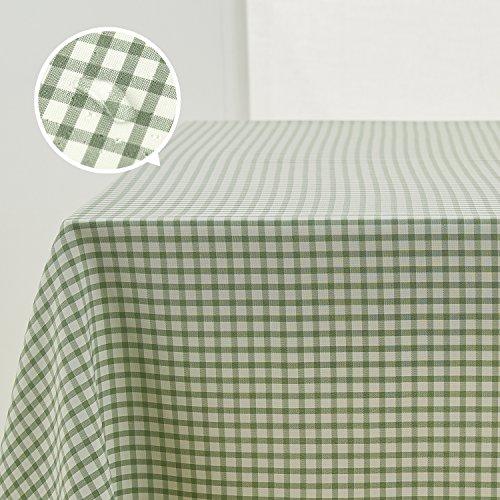 Deconovo Mantel a Cuadros para Mesa Rectangular de Comedor o Salón 137 x 200 cm Verde
