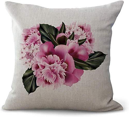 giyiohok Fundas de cojín de estilo nórdico, diseño de flores, color blanco, rosa y rosa, algodón, 18 x 18 cm, 45 x 45 cm, sábana de algodón