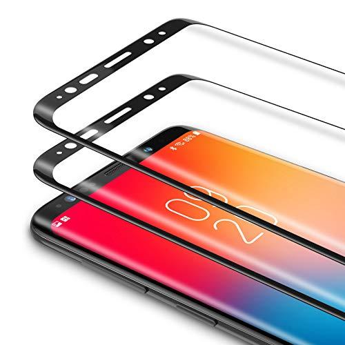 Bewahly Vetro Temperato Samsung Galaxy S8 [2 Pezzi], 3D Curvo Copertura Completa Pellicola Protettiva in Vetro Temperato per Samsung Galaxy S8 [9H Durezza, Alta Definizione] - Nero