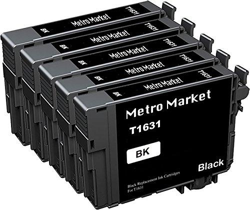 Metro Market 5 Negro Reemplazo para Epson 16 16XL Cartuchos de Tinta para Epson Workforce WF-2630WF WF-2510WF WF-2530WF WF-2650DWF WF-2750DWF WF-2760DWF WF-2010W WF-2540WF WF-2660DWF WF-2520NF