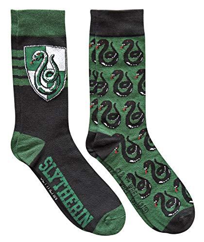 Harry Potter Slytherin Herren Socken mit Hauswappenmuster, 2 Paar, Schuhgröße 39-47