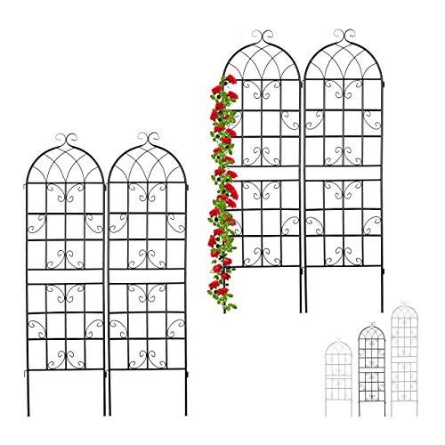 Relaxdays 4 x Rankgitter Metall, zum Stecken, Rankhilfe für Kletterpflanzen, Blumengitter 180 x 50 cm, Spalier Garten, schwarz
