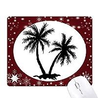 ビーチに椰子の木の黒いシルエット オフィス用雪ゴムマウスパッド
