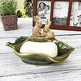 Porte-Savon Décoratif en Porcelaine Mignon Amoureux Des Lapins en Céramique Ornement de Salle de Bain Cadeau Artisanal-A_S
