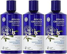 Avalon Organics Scalp Normalizing Shampoo, Tea Tree Mint Therapy 14 oz (Pack of 3)