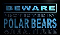 Multi Color m523-c Beware Polar Bears Neon LED Sign with Remote Control, 20 Colors, 19 Dynamic Modes, Speed & Brightness Adjustable, Demo Mode, Auto Save Function