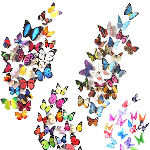 Heansun 80 PCS Butterfly Wall Decals, 3D Butterflies Removable Mural Stickers Wall Stickers Decal for Home Decorations Kids Room Bedroom Nursery Decor