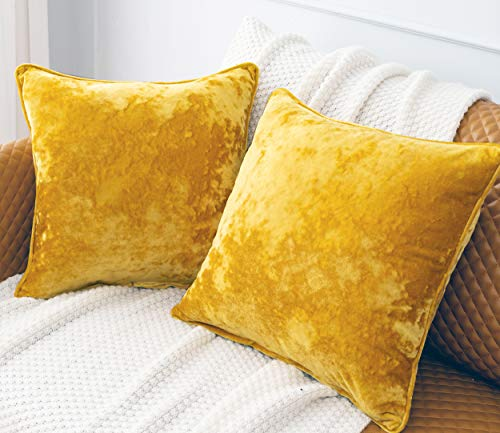HORIMOTE HOME 2pcs Crushed Velvet Bright Yellow Large Square Cushion Covers for Sofa Couch Chair, Decorative Cushion Cases Pillow Covers for Livingroom Bed Car 50x50cm