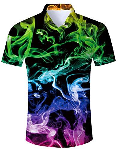 Idgreatim Herren Hawaiian Hemden Shirt Kurzarm Printed Animal Vintage Design Herren Freizeithemd Oktoberfest Hemd Herren
