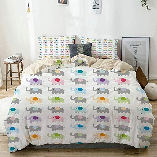 Duvet Cover Set Beige,Nursery Colorful Fun Elephants Print, Decorative 3 Piece Bedding Set with 2 Pillow Shams