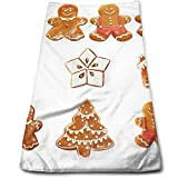 Vivid Cute Christmas Gingerbread Biscuits Set Snowflake House Tree,Soft Absorbent Hand Towels Multipurpose for Bathroom, Hotel, Gym and SPA (12' x 27.5')