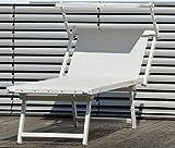 Jan Kurtz Rimini Classic premium de calidad de aluminio lacado en blanco Tumbona con toldo UV bestaendig Capri de Luxe Sauna playa terraza jardín