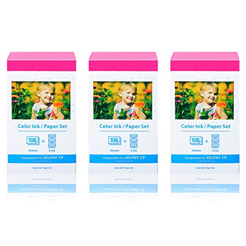 Nineleaf 3 Pack Compatible with Canon KP-108IN KP108 9 Color Ink Cassette and 324 Sheets 4 x 6 Paper Glossy Ink Paper Set for SELPHY CP1300 CP1200 CP910 CP900 CP760 CP770 CP780 Wireless Compact Photo